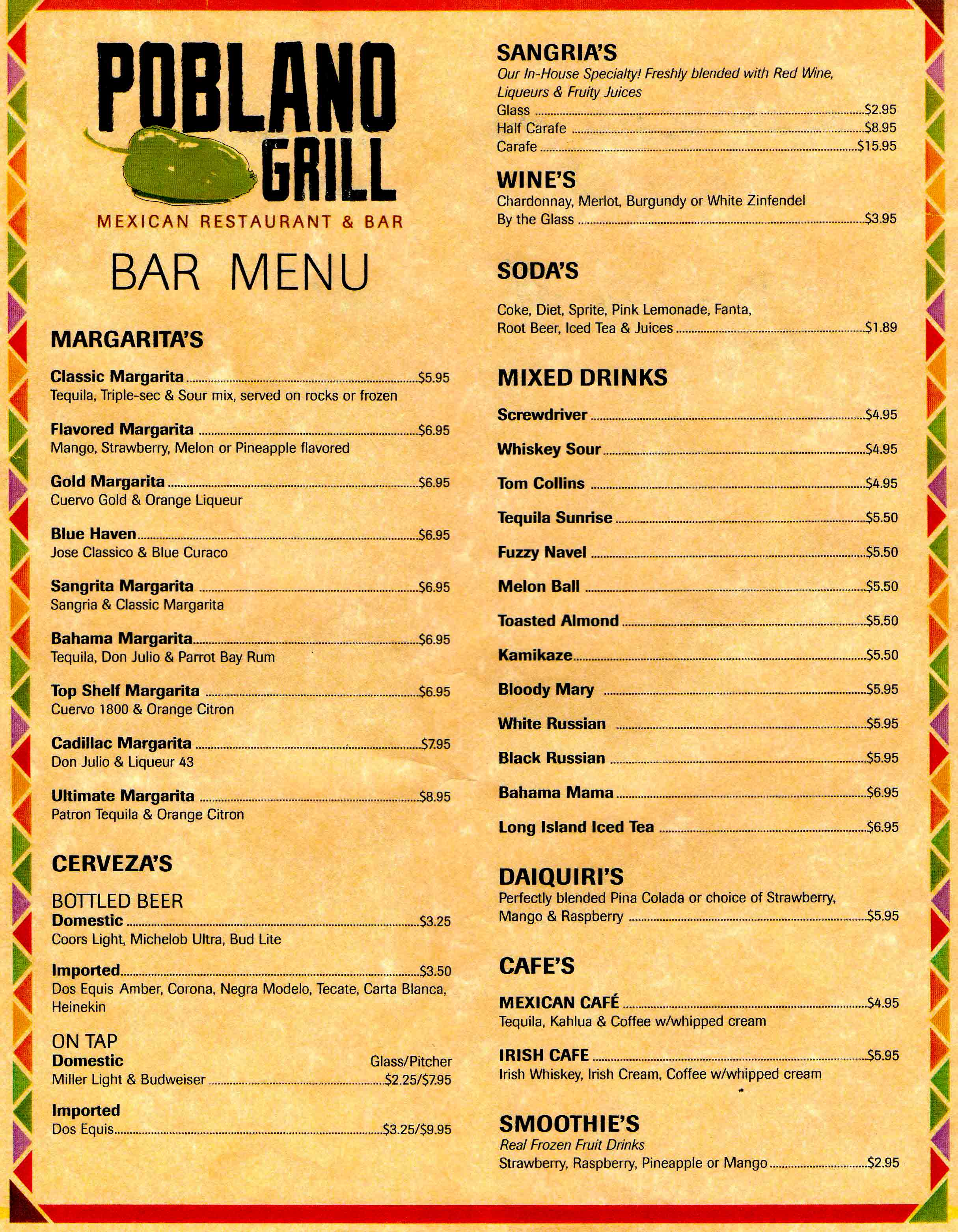 Menu poblano grill for Food bar menu